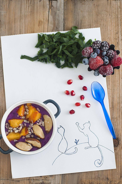 Blueberries, blackberries, raspberries, sunflower seeds, Brazil nuts, kale, strawberries, pomegranate juice, raisins, greek yogurt and peach smoothie