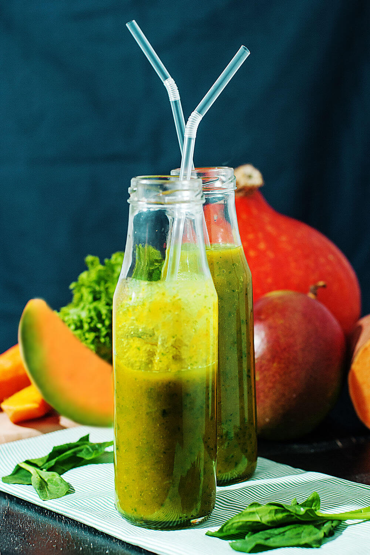 Cantaloupe, kale, carrot juice, pumpkin puree, sweet potato, mango and spinach smoothie