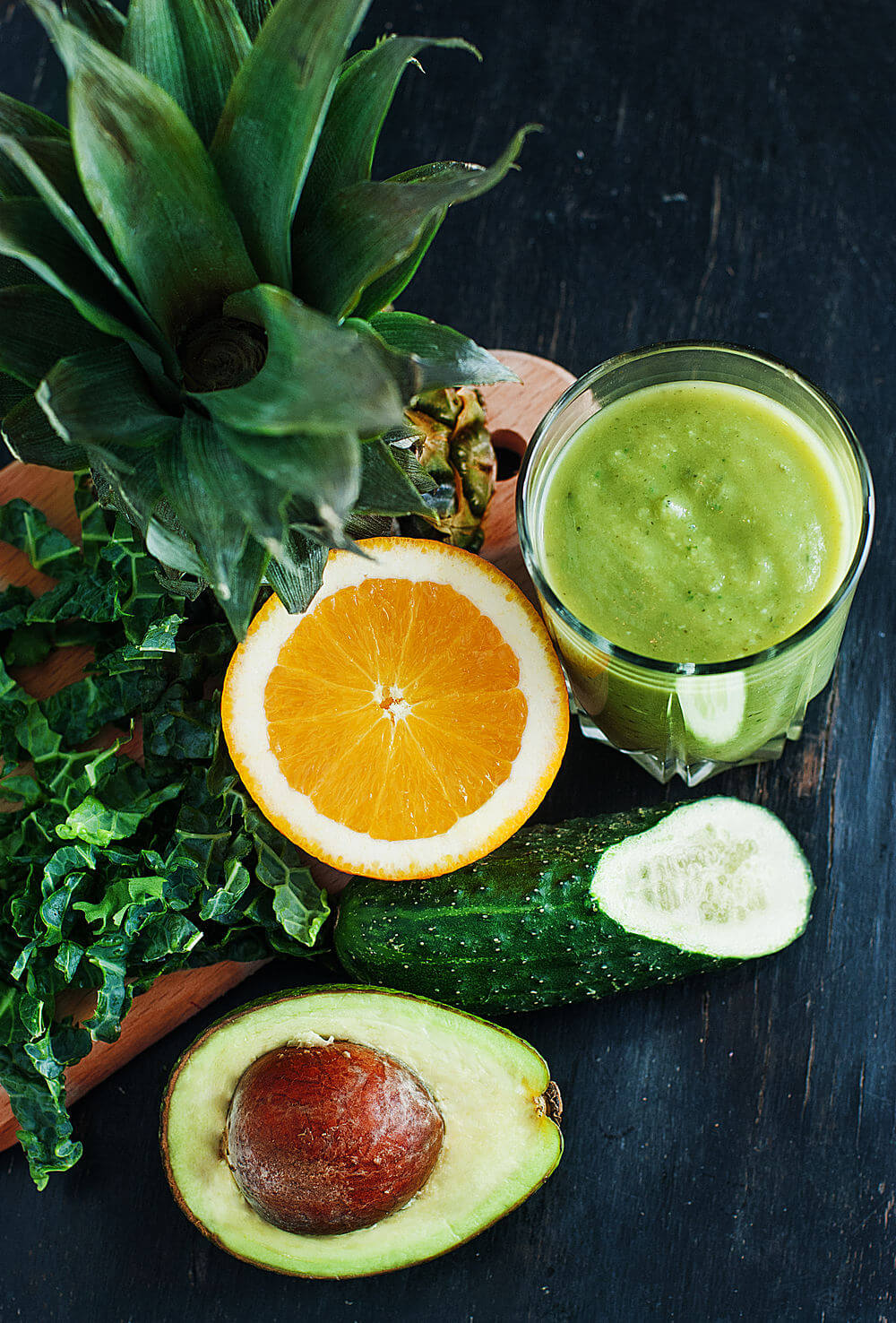 Coconut water, cucumber, pineapple, kale, orange and avocado smoothie
