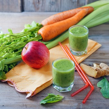 An apple a day... - Ginger, water, spinach, red apple, celery and carrot smoothie
