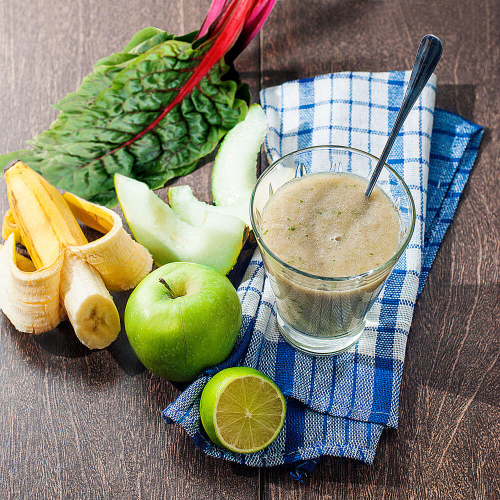 Swiss chard, green apple, water, banana, honeydew melon and lime smoothie